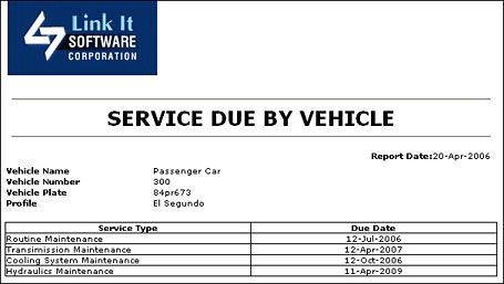 After Selecting The Vehicle For Which You Want To Print Service Due And Clicking On Ok Report Will